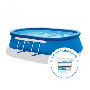 Intex Pack Piscine autoportée Ellipse 5,49 x 3,05 x 1,07 m + Traitement pour piscines < 20 m³