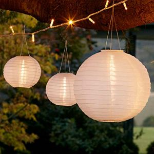 Lights4Fun Lot de 6 Lampions Chinois Solaires Blancs à LED Blanc Chaud par