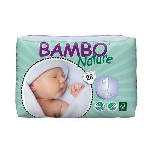Bambo Nature Couches écologiques taille 1 Newborn 2-4 kg - paquet de 28
