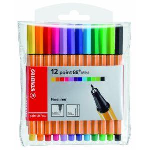 Stabilo 12 stylos feutre Mini point 88 assortis (0,4 mm)