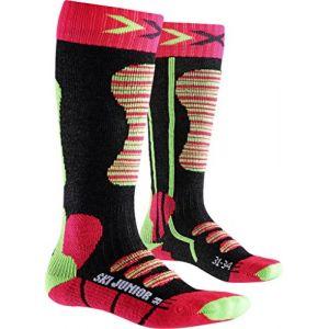 X-Socks Junior Chaussettes de Ski Fille, Coral/Vert, FR : S (Taille Fabricant : 24-26)