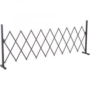 Outsunny Barrière Extensible rétractable barrière de sécurité 250L x 31l x 104H cm alu métal Chocolat