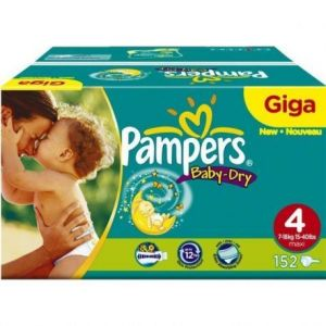 Pampers Baby Dry taille 4 Maxi 7-18 kg - Giga Pack 240 couches