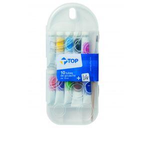 Top Office Lot de 10 tubes de gouache avec Pinceau - 10 ml