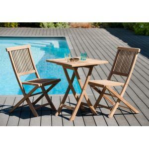 Macabane Ensemble de jardin nº 26 comprenant 1 table carrée pliante 60 cm et 1 lot de 2 chaises Java - 1 table carrée pliante et 2 chaises Java - En teck - Dimensions table : 60x60x76 cm chaises : 45x60x90 cm.