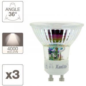 Xanlite Lot x3 Ampoule spot LED, culot GU10, 5,5W cons. (50W eq.), blanc neutre (4000K)