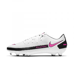 Nike Phantom GT Academy FG/MG, Chaussure de Foot Mixte Adulte, White/Pink Blast-Black-Black, 44 EU