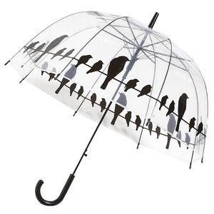 Esschert design Parapluie transparent Oiseaux sur un fil Métal, PP et POE