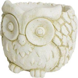 Deco granit Cache pot en pierre reconstituée hibou