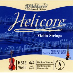 D'Addario Bowed Corde seule (La) pour violon Helicore, manche 4/4, tension Medium