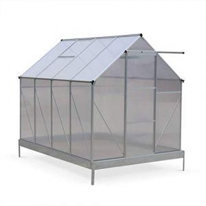 Alice's Garden Serre de jardin CHENE en polycarbonate 5m² avec base, 2 lucarnes de toit, gouttière, Polycarbonate 4mm