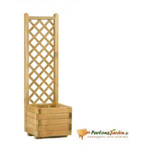 Jardipolys 0280323 - Bac à fleurs carré avec treillage Lierre droit 40 30 L