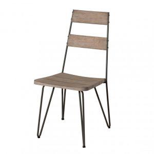Macabane Lot de 2 chaises scandi bois et métal