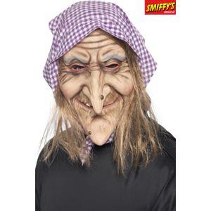 Masque de vieille sorcière avec cheveux