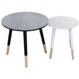 The home deco factory Tables gigognes plateau déco pieds bicolores (Lot de 2) Losanges