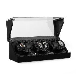 Klarstein Ca3pm Remontoir Automatique Pour 6 Montres 4 Programmes - Coffret Luxe Optique Carbone