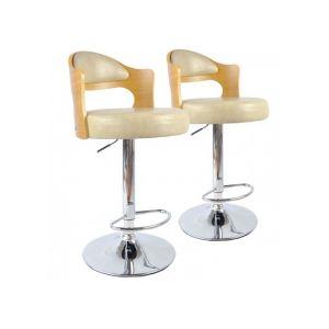 Stanley Lot de 2 chaises de bar Ruben Chêne Clair & Crème