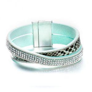 Blue Pearls Cry G173 F - Bracelet 2 rangs cristaux et cuir