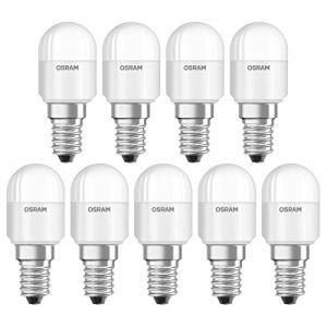 Osram Ampoule LED pour Réfrigérateur T26, Culot E14, 2,3W Equivalent 20W, dépolie, Angle : 160°, Blanc Chaud 2700K, Lot de 9 pièces