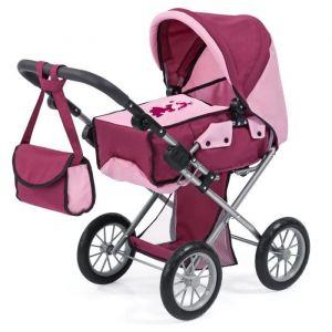 Bayer Poussette Landau pour poupée City Star Princesse bordeaux réglable avec un sac à bandoulière