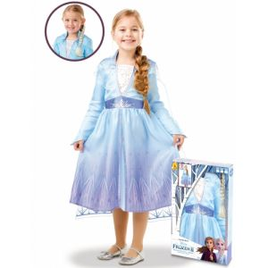 Coffret déguisement et tresse Elsa La Reine des neiges 2 - Taille 5 à 6 ans (105 à 116 cm)
