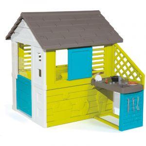 Smoby 810711 - Maison de Jardin Pretty + Cuisine - 2 Fenêtres + 17 Accessoires