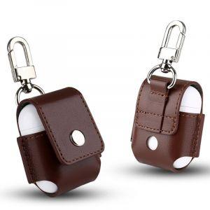 WeWoo Etui Casque / Ecouteurs marron pour Apple AirPods Creative sans fil Bluetooth écouteurs en cuir véritable sac de protection Anti perte de rangement avec crochet en acier inoxydable