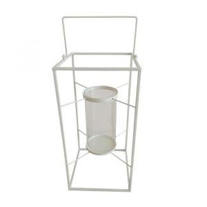 HOMEA Lanterne en métal 18x18xH36 cm blanc