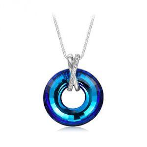 Blue Pearls Cry E725 J - Collier grand cercle en Cristal Swarovski Elements