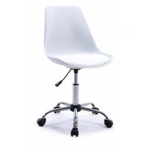 Declikdeco Chaise de Bureau Réhaussable Blanche ELAINE