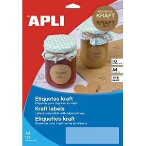 APLI 17377 - 100 étiquettes kraft, format 99,1 x 57 mm (10 feuilles / cdt)