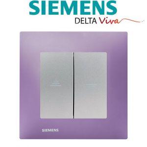 Siemens Interrupteur Volet Roulant Silver Delta Viva + Plaque Violet