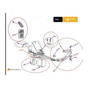 Somfy Kit demi-bras+patte vantail+accessoires pr EVOLVIA 400 / 450 et PASSEO 800 9015541