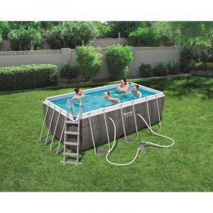 Bestway Piscine Power Steel Frame Pools rectangle 4.12 x 2.01 hauteur 1.22m imitation tressé