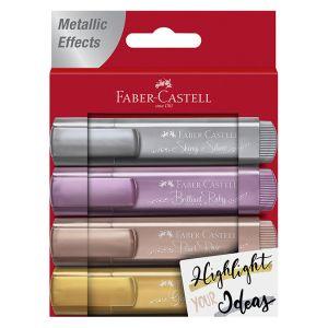 Faber-Castell Surligneur TEXTLINER 1546 Metallic, étui de 4 - Lot de 5