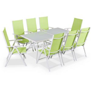 Alice's Garden Table de jardin en aluminium avec 8 fauteuils