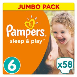 Pampers Sleep & Play taille 6 (15 kg+) - Jumbo Pack 58 couches