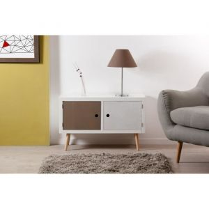 House and Garden Buffet 2 portes pin massif blanc gris beige Milly