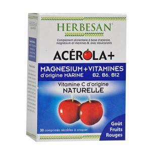 Herbesan Acérola+ - Magnésium + Vitamines - 30 comprimés