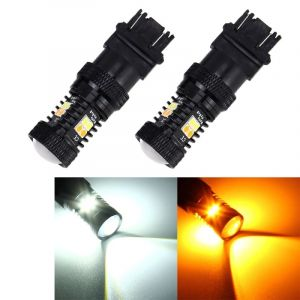 WeWood 2 Pcs Voiture Auto T25 / 3157 Dc 12v 5w 350lm 16 Smd-3030 Led Ampoules Turn Light Lamp Backup, Blanc + Jaune