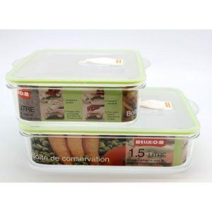 Wellkom 2 boîtes de conservation sous vide (1 / 1,5 L)