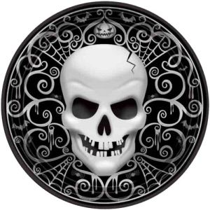 8 assiettes en carton Tête de Mort Halloween