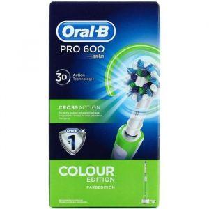 Braun Oral-B Pro 600 Cross Action - Brosse à Dents Électrique Rechargeable - Edition Verte
