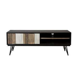 House and Garden Meuble TV scandinave en bois acacia massif multicolore brillant + pieds fifties - L 155 cm