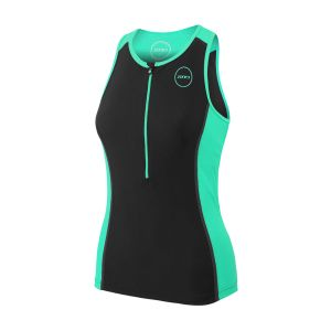 Zone3 Aquaflo+ Débardeur de triathlon Femme, black/mint S Combinaisons triathlon & Trifonctions