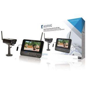 König Kit de surveillance numérique sans fil 2,4GHz avec visualisation mobile à distance, avec 1caméra et 1enregistreur avec moniteur LCD 7 intégré
