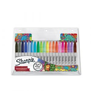 Sharpie Marqueur permanent à capuchon pointe conique fine - couleurs assorties - Pochette de 20