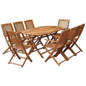 VidaXL Jeu de salle à manger d'extérieur pliable 9 pcs bois d'acacia