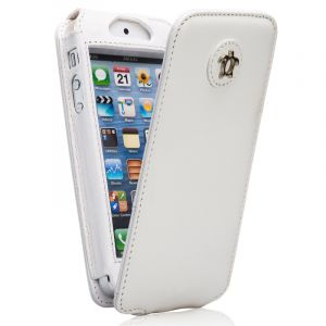 Issentiel Housse pour iPhone 5/5S Cuir Blanc - Collection Tradition