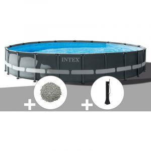 Intex Kit piscine tubulaire Ultra XTR Frame ronde 7,32 x 1,32 m + 30 kg de zéolite + Douche solaire